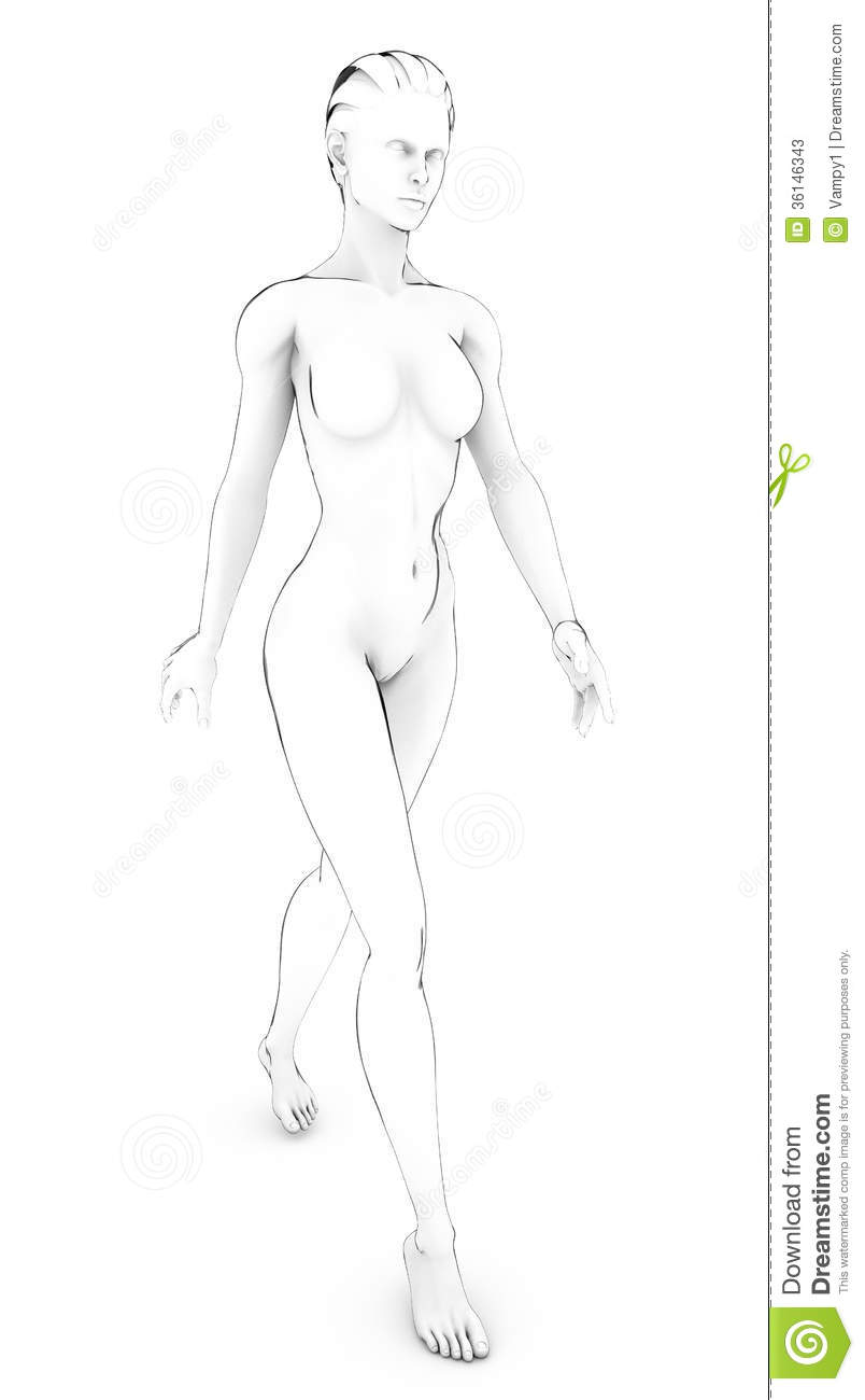 Front naked woman drawing